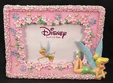 """Walt Disney Pink Floral Tinkerbell Desktop Picture Frame Fits 4"""" x 6"""" Photo"""