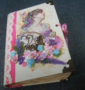 Altered Book Junk Journal Diary Bright Pink Victorian Theme Ephemera