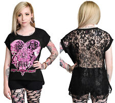 NEW Too Fast  Black Rose Key to Your Heart S/S T-Shirt w/ Lace Back Gothic S