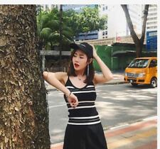 SALE SLEEVELESS KNITTED TOP (DZ) - BLACK STRIPE