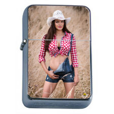 Farmers Daughter Pin Up Girls D2 Flip Top Oil Lighter Wind Resistant With Case