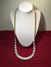 """Gold Tone Chain & White Plastic Beaded Necklace 29"""""""