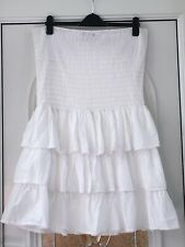 NEW WHITE PRIMARK ATMOSPHERE SUMMER TIERED BANDEAU MINI DRESS / TOP SIZE 20 / 46