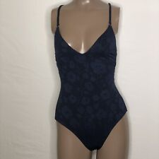 **Sz 6 Robin Piccone Ava V-Neck Crisscross Strappy Floral Embossed Swimsuit Blue