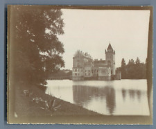 Austria, Salzburg, Anif Schloss  Vintage citrate print. Water castle built on a