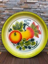 Vintage 16 inch Tin Serving Platter Tray-fruit design