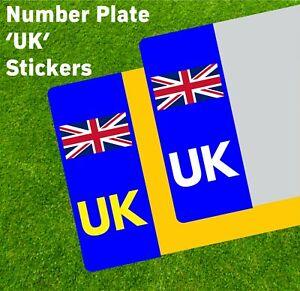 UK Blue - Car Number Plate Sticker UNION JACK NO EU GB BREXIT - Stickers