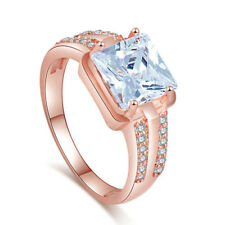 18K Rose Gold Plated Square Princess Crystal CZ Cocktail Ring Size R / 8.5. 2046