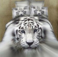 3D tiger Print Comfy Cotton Duvet Cover Pillow Cases Bedding 4pc Sets Queen Size