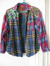 Women's top Plaid Embroidery Soft long sleeve Grunge country Rock Cute camping