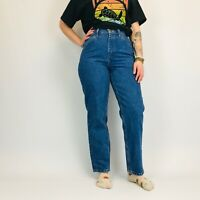 Vintage High Waisted Mom Jeans 29W 29L Dark Stonewash Blue Tapered Leg