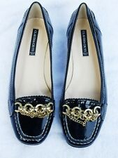 New CLAUDIA CIUTI black patent Leather CHAIN Loafers Flats Shoes Italy 6M