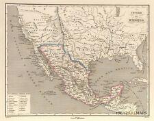 TEXAS MEXICO CALIFORNIA Extra Sheet text vignettes Antique Original Italian Map