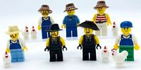 LEGO 7 NEW FARMING FARMER WESTERN MINIFIGURES FIGURES WITH OVERALLS & CHICKENS