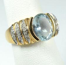 14K YELLOW GOLD LAURA RAMSEY LARGE 3.00 CARAT AQUAMARINE DIAMOND RING 7.3 GRAM