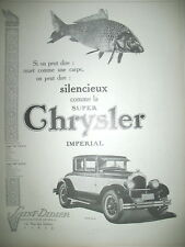 PUBLICITE DE PRESSE CHRYSLER IMPERIAL AUTOMOBILE SILENCIEUSE FRENCH AD 1926
