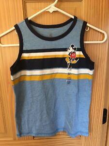 Disney Store Mickey Mouse Tank Top Tee T-Shirt Boys Blue 5/6,7/8 NEW