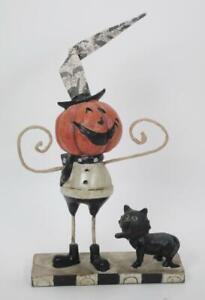"Whimsical Pumpkin Man & Black Cat Figurine  7.5"" Tall Halloween Decor"