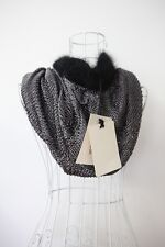 NWT Jean Paul Gaultier Black Silver knit Cape Shawl Scarf Crop Top  w/cashmere S
