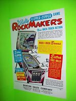 Bally ROCKMAKERS Original 1968 Flipper Game Pinball Machine Promo Sales Flyer