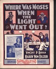 Where Was Moses When The Lights Went Out 1901 Bert Williams Lge Fmt Sheet Music
