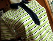 Medium True Vtg 70s Lime Green/Blue Stretch Knit Carol Brent Polo Boho Top