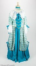 Colonial Dress Ladies 18th Century 3 Pc. Aqua Blue & White Skirt Top & Choker Md