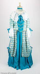 Colonial Dress Ladies 18th Century 3 Pc. Aqua Blue & White Skirt Top & Choker Md