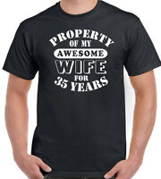 Wedding Anniversary 35th T-Shirt Mens My Awesome Wife Funny Gift 35 Year Husband