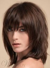 Layered Shag Hairstyle Full Fringe Middle Length Synthetic Capless Women Wigs