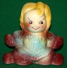 Vintage Porcelain Ceramic Little Girl Piggy Bank - High Quality No Marks - NICE!