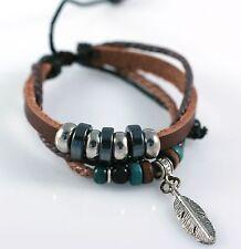 Fashion Hemp Leather Bracelet Tibet Braided Bead Alloy Wood Wristband Unisex NEW