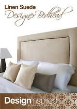STUDDED Brass Trim Upholstered Bedhead for King Single Ensemble - Linen
