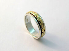 New Sterling Silver Handmade Rolling Spinning Ring Combined With 9K Gold Size 8