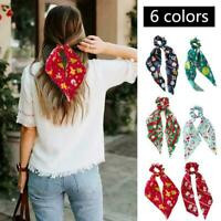 Women Floral Print Elastic Hair Band Scrunchie Bow Girl Hair Hair Ring H2N7
