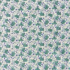 Floral Cotton Twill Fabric Blue Green Cream Dressmaking Baby Doll Craft