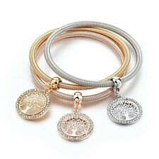 Triple Gold Silver And Rose Gold Tones Tree Of Life Charm Bracelet