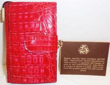 PORTAFOGLIO da donna in vero COCCODRILLO rosso-Genuine Crocodile Wallet woman