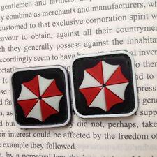 2 PCS MINI Resident Evil RED Umbrella 3D RUBBER BADGE PATCH GLOW IN DARK