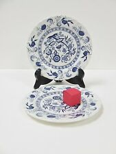 JOHNSON BROTHERS BLUE NORDIC PATTERN PAIR OF BREAD AND BUTTER PLATES WHITE BLUE