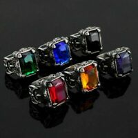 Men's Stone Finger Rings Stainless Steel Fashion Male Cool Titanium Jewelry 316L