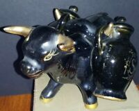 Oxen With Jugs Salt And Pepper Shakers Vintage