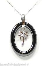 OVAL RING BLACK CERAMIC RHODIUM ON SOLID STER SILVER HAWAIIAN PALM TREE PENDANT