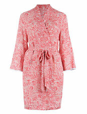 M & S COLLECTION LADIES PAISLEY PRINT BELTED WRAP IN CORAL MIX