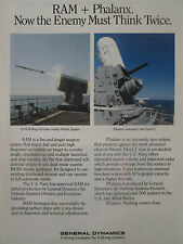 10/1991 PUB GENERAL DYNAMICS RAM ANTI SHIP MISSILE PHALANX GUN SYSTEM US NAVY AD