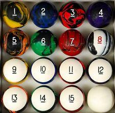 "Tech Style Pool Table Billiard Ball Set Reg Size 2 1/4"""