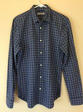 SEVEN 7 FOR ALL MANKIND Men's Navy Blue Check Shirt Long Sleeve Size SMALL