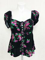 FREE PEOPLE Women's Black Floral Short Sleeve Blouse Top Size Small EUC