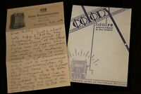 Walt Disney Letter to Lillian Disney + PROGRAM  Colony Theatre 1928 Mickey Mouse