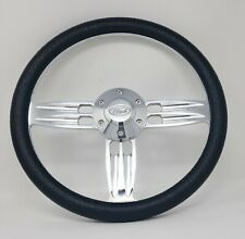 """14"""" Inch Polished & Black Steering Wheel Fits Ford Horn 6 Hole Cars & Trucks"""